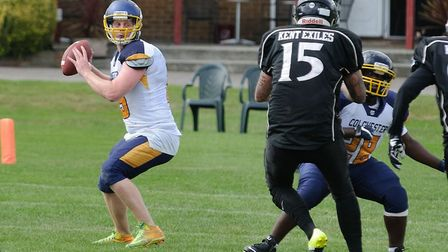 Sam Gennings was forced to play at quarterback due to injuries for the Colchester Gladiators. Pictur