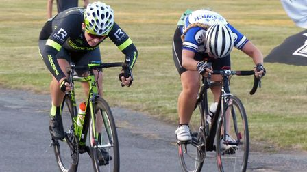 Sophie Holmes (left) outsprints Ipswich's Tanya Griffiths for second place at Trinity Park