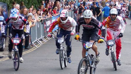John Lillingstone (Ipswich BMX) leads the BMX Final at the Gasp Up Gas Hill
