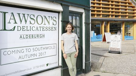 Clare Jackson, who owns Lawson's in Aldeburgh with father, John Ormerod, outside the store.