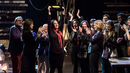Gillian Allard (centre) celebrates winning Sky Arts Master of Photography watched on by her fellow c
