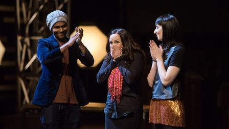 Gillian Allard (centre) reacts to winning this year's Sky Arts Master of Photography watched on by r