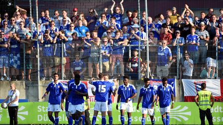 2015: Ipswich Town's players celebrate during a 4-3 defeat at german side Fortuna Dusseldorf. Photo: