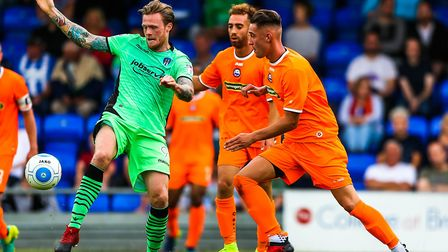 Denny Johnstone on the ball during the U's 3-0 win at Braintree in a pre-season friendly. Johnstone