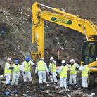 Officers search for Corrie McKeague at the Milton Landfill site in Cambridgeshire. Picture: GREGG BR