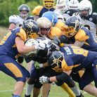 The Colchester Gladiator defence swarm the London Hornets. Picture: JOHN SINGER