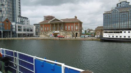 The Old Custom House, seen from the Orwell Lady river cruise vessel