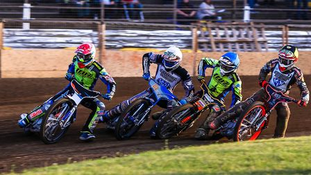 L-R, Rory Schlein, Steve Worrall, Connor Mountain and Jack Thomas in action during heat four of the
