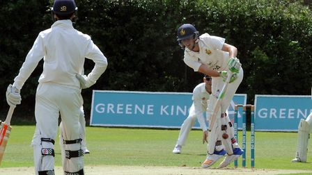 Ben Curran is up on his toes playing a quick ball during his innings of 23 in Bury's defeat to Copdo