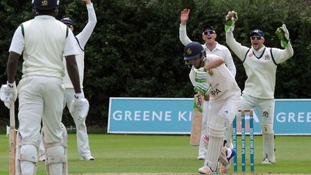 Bury opener Ben Curran is trapped lbw off the bowling of Tom Rash, in the home side's four-wicket de
