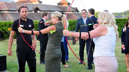 Archery at the Suffolk Chamber of Commerce Rooftop Garden Party held at Willis Towers Watson in Ipsw