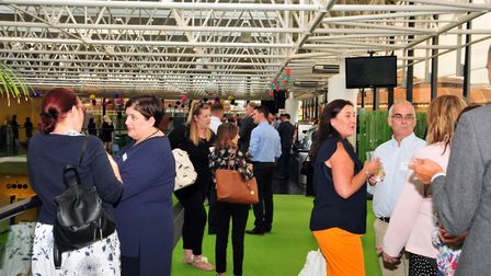 Guests at the Suffolk Chamber of Commerce Rooftop Garden Party at Willis Towers Watson in Ipswich.