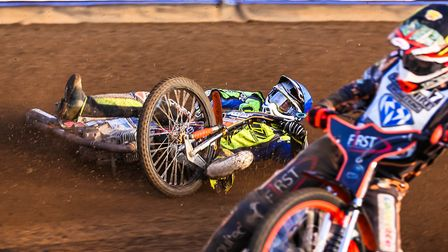 Connor Mountain falls on the first bend of heat four. But he got up ok.