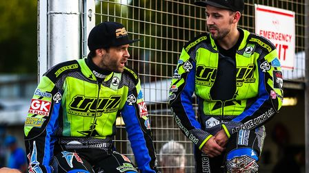 Rory Schlein (left) and Danny King pictured during the Ipswich v Newcastle meeting, deep in conversa