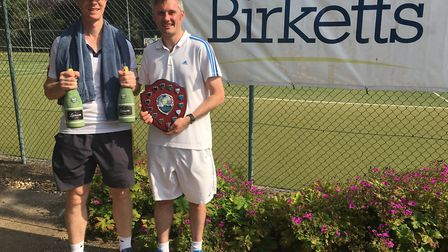 Sean Milbank and Matthew Sparrow from Milbank Concrete who won the inaugural Birketts charity tennis