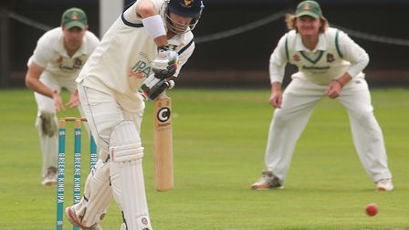 Keiran Young bats for Suffolk, on his way to 37.