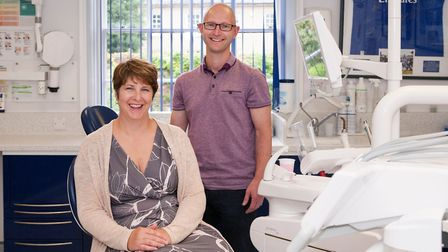 Dr Fredrik Anderson of the Abbey Dental Practice in Bury St Edmunds with Tracy Westley of Royal Bank
