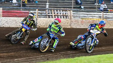 Justin Sedgmen leads the way from from Jye Etheridge, left and Kyle Newman.