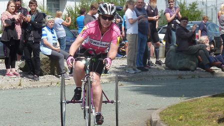 Jayne Moore sets out on her 300 mile plus ride. Picture: FERGUS MUIR
