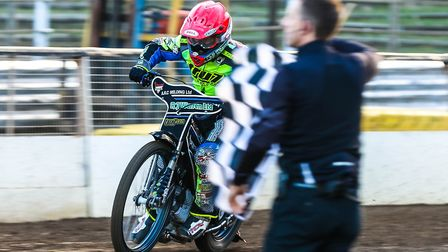 Danny King takes the chequered flag to win heat one.