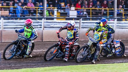 Danny King leading Sam Masters, Theo Pijper and Kyle Newman in the opening heat at Foxhall.