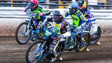 Edinburgh's Ricky Wells leads the way from Cameron Heeps (red helmet), Justin Sedgmen (blue) and Max