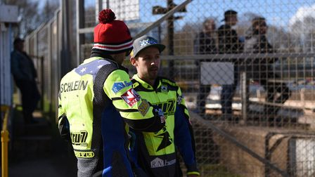 Danny King, right, and Rory Schlein, face a big week of action for Ipswich Witches. Photo: SARAH LUC