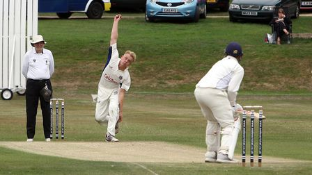 Dan Shanks bowling for Hadleigh, against Elmstead last Saturday. Shanks took one for 51 as the visit