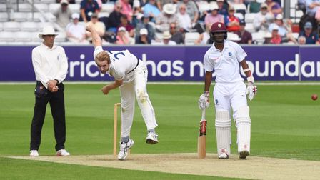 Essex all-rounder Paul Walter, bowling to West Indies batsman Roston Chase at Chelmsford. Picture: