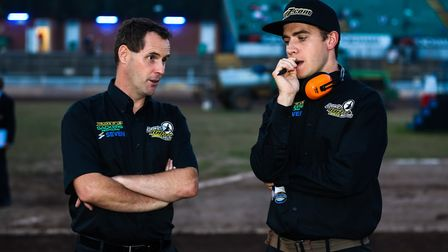 Witches Director of Speedway Chris Louis (left) and team manager Ritchie Hawkins. It hasn't been the