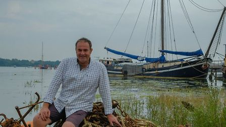 Carl Scott of Woodfarm Barns and Woodfarm Barges, of Stonham Aspall, with the Onderneming at Pin Mil