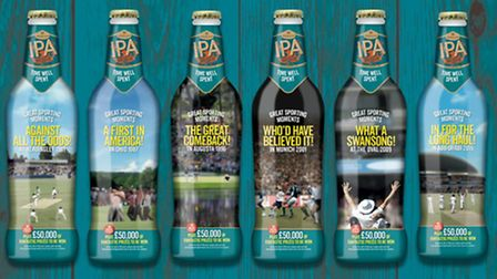 Greene King IPA 'Great Sporting Moments' limited edition bottles. Picture: GREENE KING