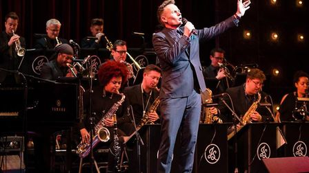 Joe Stilgoe with his band who combined movie classics with his own songs at his Snape Proms performa