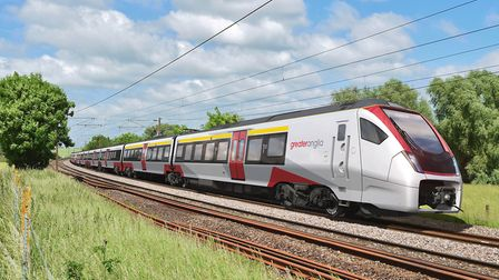 """Greater Anglia's new """"Stadler Flirt"""" Intercity trains due to enter service in two years' time. The t"""