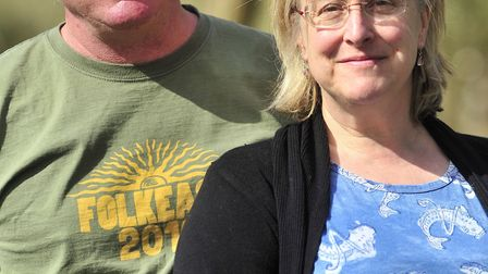 John and Becky Marshall-Potter, the founders of FolkEast, taking over Glemham Hall, this weekend. Ph