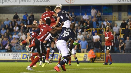 Jordan Spence heads home Ipswich Town's winner in Tuesday night's topsy-turvy 4-3 win at Millwall. P