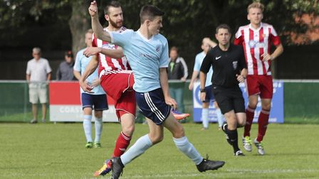 Miles Powell fires home the 85th minute winner for Felixstowe against Godmanchester