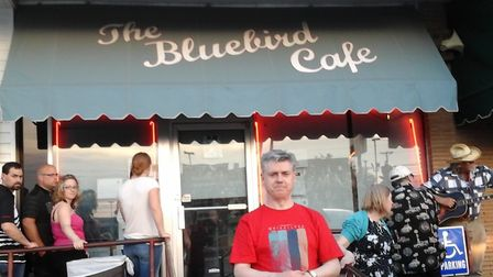 Tony James Shevlin outside Bluebird Cafe, Nashville, on his three month roadtrip which lead to the r