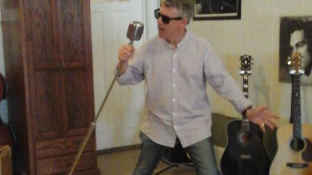 Tony James Shevlin going full Elvis at Sun Studios in Memphis, birthplace of rock'n'roll, during his