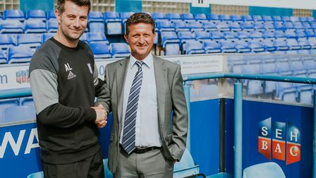Alan Lee, Under-18s manager at Ipswich Town FC, with John Savage, managing director of SEH BAC. Pic