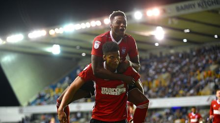 Dominic Iorfa celebrates Jordan Spence's goal at Millwall Picture Pagepix