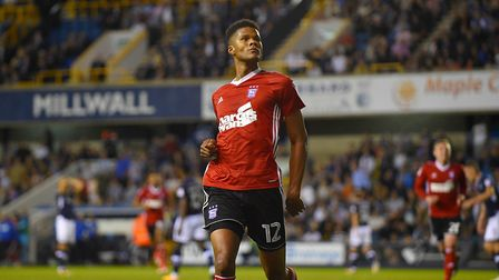 Jordan Spence strikes a pose after scoring the winner for Ipswich at Millwall Picture Pagepix