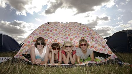 Festival goers at the campsite of V Festival in Chelmsford, Essex. Picture: YUI MOK/ PA WIRE