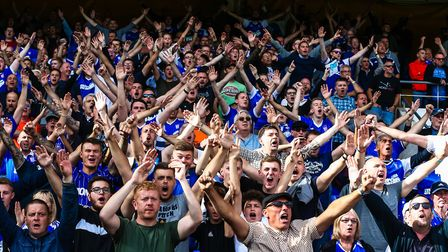 Ipswich Town fans enjoy the victory against Brentford on Saturday. Picture: Steve Waller.