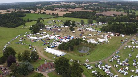 Aerial photographs of the FolkEast festival grounds at Glemham Hall. Picture: SYKNAMIX