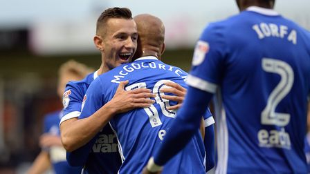 David McGoldrick is congratulated by Bersant Celina after giving Town the lead in their cup win at L