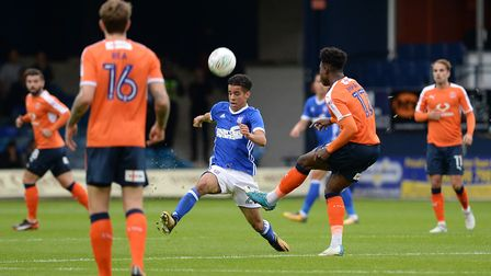 Tristan Nydam closes down at Kenilworth Road Picture Pagepix