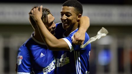 Luke Chambers and Myles Kenlock celebrate after the final whistle at Luton Picture Pagepix