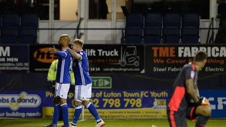 David McGoldrick celebrates his second goal with Martyn Waghorn at Luton. Picture: PAGEPIX LTD