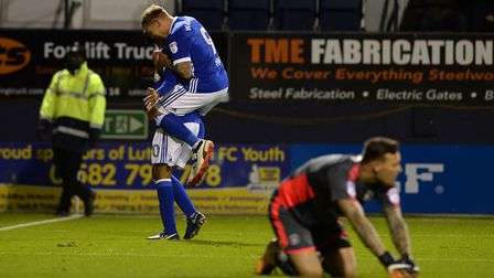 David McGoldrick celebrates his second goal with Martin Waghorn at Luton Picture Pagepix